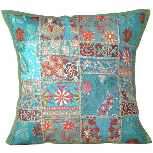 Cover Throw Indian Cushion Pillow Case Pillows Sofa Ethnic Work Decor Square Art