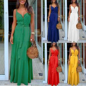 Women-Fashion-Sexy-Sleeveless-Strappy-V-neck-Bandage-Party-Beach-Long-Maxi-Dress