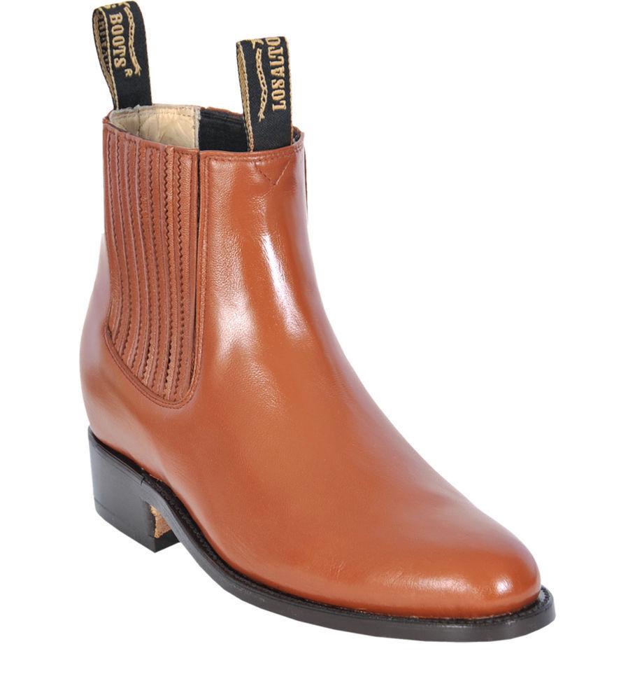 Men's Los Altos MIEL DE CUERO GENUINO CIERVO Tobillo botas Charro costuras en D