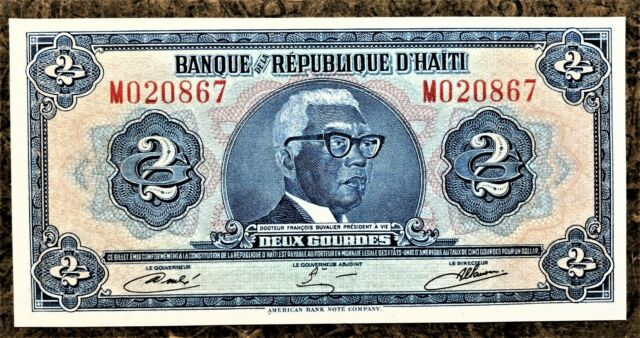 HAITI 2 GOURDES of 1979 UNCIRCULATED - the WORLD'S 1st TYVEK NOTE PICK # 231A