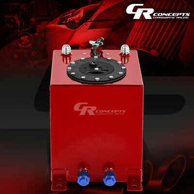2.5 GALLON RED COATED ALUMINUM RACING//DRIFTING FUEL CELL GAS TANK+LEVEL SENDER