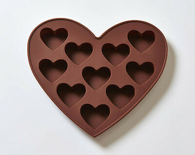 10 Cavity Hearts Silicone Cake/Soap Mould B0025
