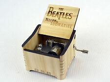 Personalized Hand Crank Wooden Music Box (The Beatles - Yellow Submarine)