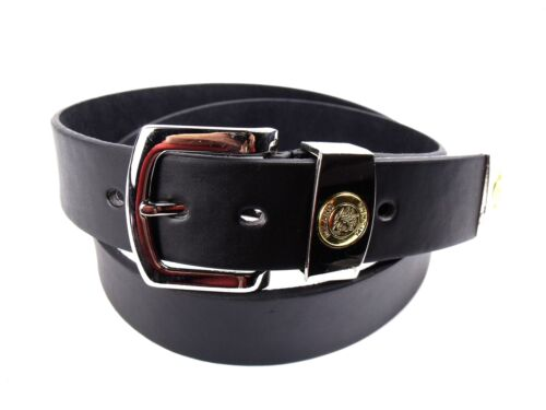 MENS NEW HIGH QUALITY BLACK LEATHER BELT WITH SILVER BUCKLE BY MILANO