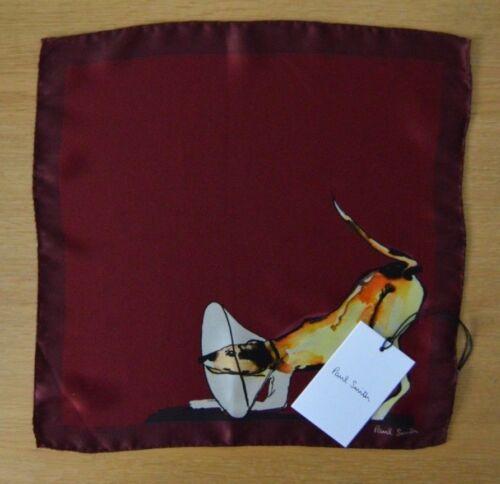 PAUL SMITH Mens burgundy red DOG suit 100/% silk pocket square handkerchief