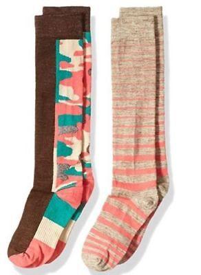 4 Packs Comfy Dress Socks for Girls Solid Striped Knee Length Socks 3-9 Yrs