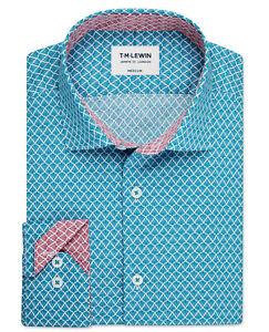 T-M-Lewin-Mens-Pine-Print-Slim-Fit-Teal-Single-Cuff-Shirt