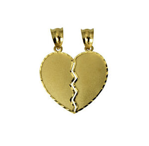 14k yellow gold medium couple broken breakable split heart charm image is loading 14k yellow gold medium couple broken breakable split aloadofball Choice Image