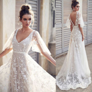 Lace Vintage Wedding Dress.Sexy Women V Neck Short Sleeve Lace Vintage Wedding Gown Evening