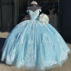 Blue Quinceanera Dress Lace Applique Beaded Bling Organza Off Shoulder Sweet 16