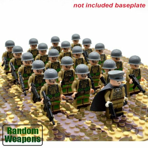 21PCs//set WW2 Army Military Building Blocks US Italy Germany Britain figures toy