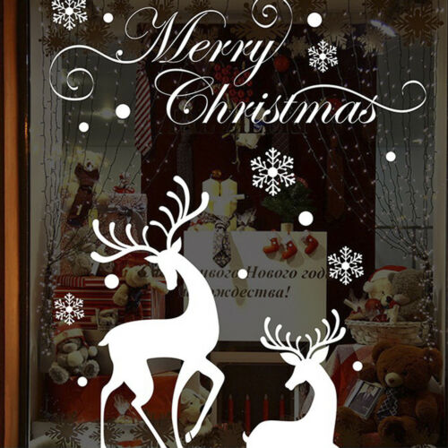 Wall Sticker Room Christmas Snow Deer Creative Decals Wall Sticker Shopwindow