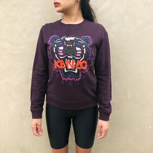 cef79f0b2 Image is loading Kenzo-Burgundy-Embroidered-Jumper-Womens-Small-Burgundy-Red