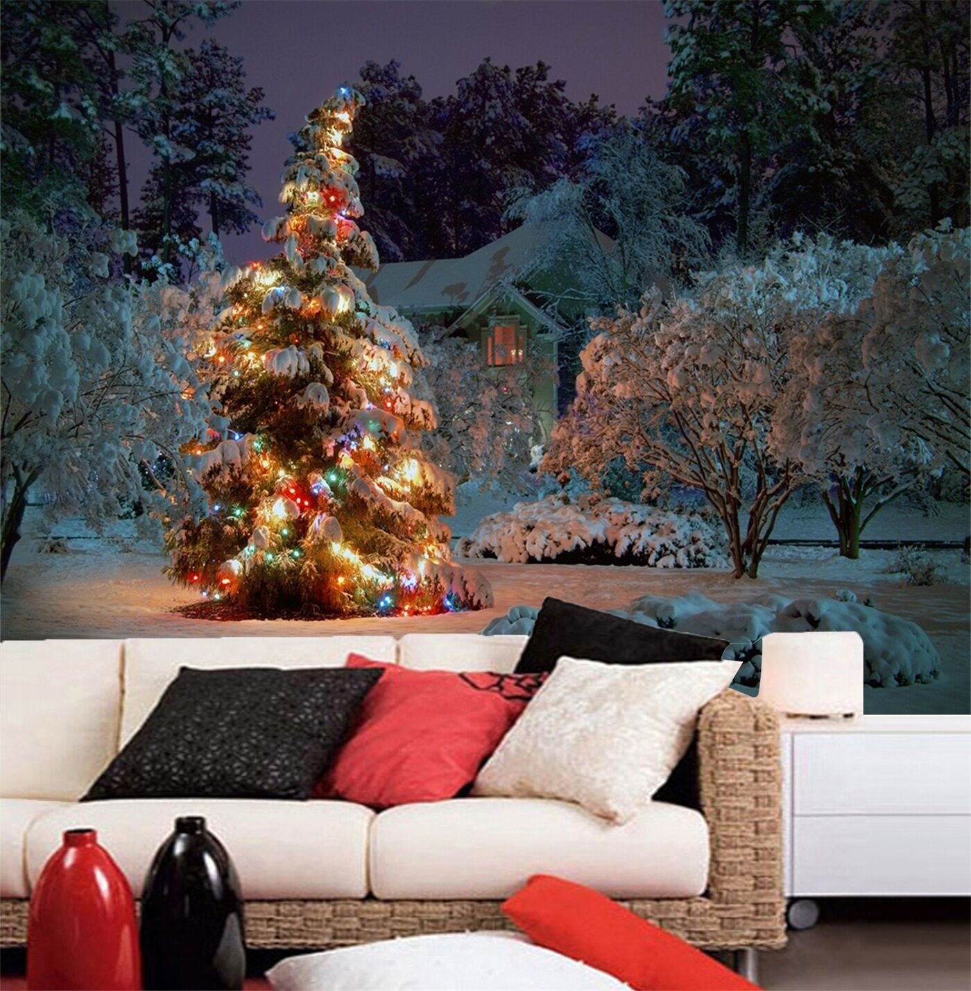 3D Nice Christmas tree Wall Paper Wall Print Decal Wall Deco Indoor wall Murals
