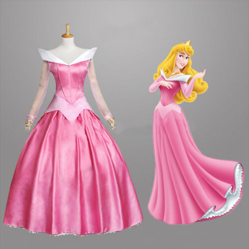 Adult Beautiful Princess Sleeping Beauty Aurora Cosplay Costume Party Gown Dress