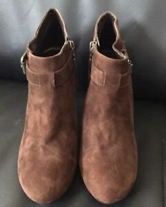 NICE-NEW-Womens-Brown-Suede-Ankle-Boot-Side-Buckle-Zip-Size-8-5