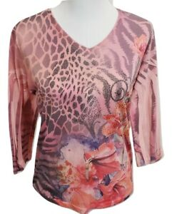 Jess-amp-Jane-Women-039-s-Blouse-Floral-With-Sequin-Size-Small
