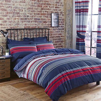 Trendmarkierung Horizontal Streifen Blau Rot Einzel Bettwäsche & Plissee-vorhänge Bettwaren, -wäsche & Matratzen
