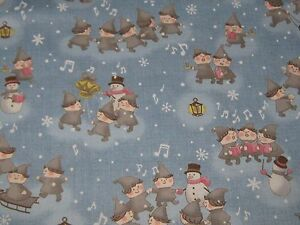 034-MERRY-TAUPE-ELFS-034-By-Lecien-100-Cotton-by-the-Yard-Free-Shipping