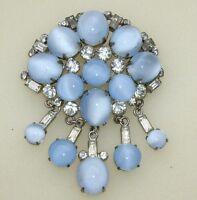 Vintage Silver Tone Blue Moonglow Glass & Rhinestone Dangle Pin Brooch