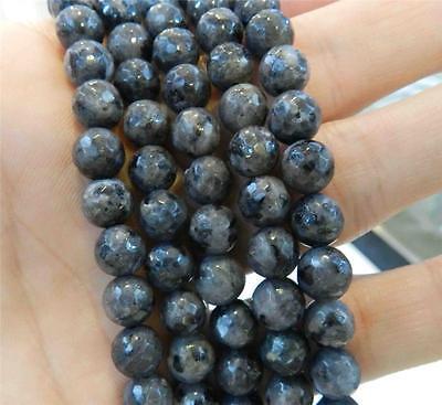 "Natural 6mm-14mm  India Black Gray Labradorite Gems Round Loose Beads 15/"""
