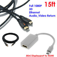 Mini DisplayPort DP to HDMI Adapter M/F + 15FT HDMI Cable w/Nylon For Apple iMac
