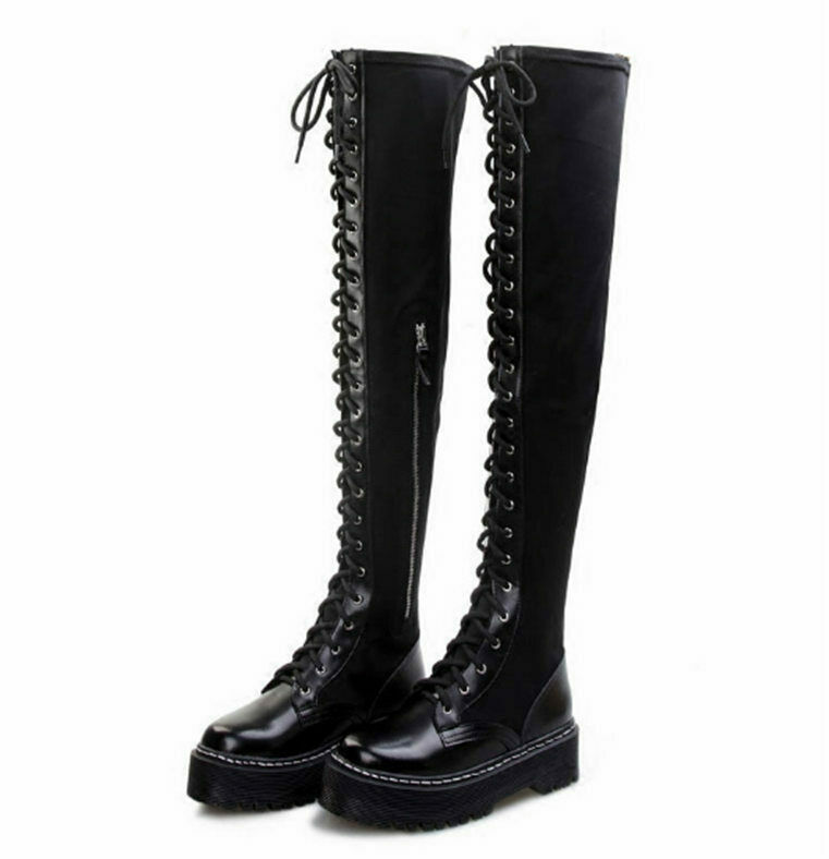 Women Thigh High Over the Boots Boots Boots Flat Platform Creepers Lace Up Punk Goth Oxfords 18fcb3