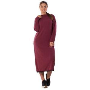 Details about Women Long Sleeve Black Color Loose Plus Size Winter Wear  Long Dress