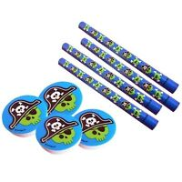 Pack of 4 PIRATE PENCILS & ERASERS (Party Bag Fillers/Stationery/Kids/Birthday)