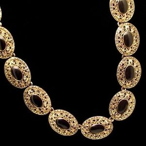 Vintage-Victorian-Revival-Necklace-Antiqued-Filigree-Black-Stones-Gold-Plated