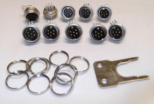 10 Stück Tuchel,Einbaubuchsen 6 pol Ringmutter,Schlüssel,Nagra,Bandmaschinen,