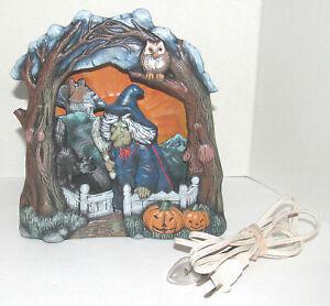 Vintage-Halloween-Silhouette-3D-Light-Witch-Black-Cat-Pumpkin-Ceramic-Handmade