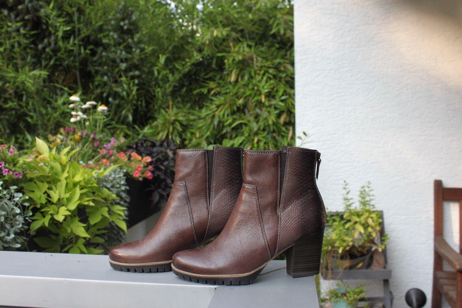 Tamaris Damenschuh Stiefel Stiefelette 1-25392-25-304 mocca Leather Schlangen