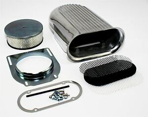 Retro-Finned-Styled-Hood-Scoop-Air-Cleaner-Assembly-w-Filter-Kit-Rat-amp-Hot-Rod
