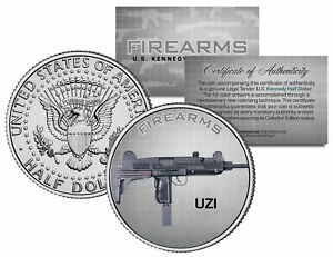 UZI-Machine-Gun-Firearm-Weapon-JFK-Kennedy-Half-Dollar-US-Colorized-Coin