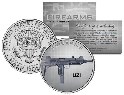 UZI Machine Gun Firearm Weapon JFK Kennedy Half Dollar US Colorized Coin