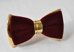 Burgundy-Wine-Red-Velvet-Gold-Faux-Leather-Bow-tie-for-Men-Youth-Boy-Baby
