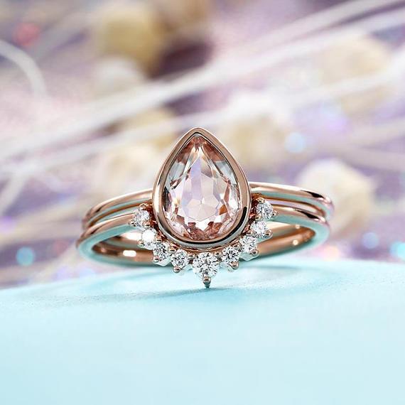Pear-Cut Morganite & Diamond 14K pink gold Over Wedding Engagement Bridal Ring