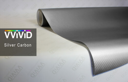 Silver vinyl carbon fiber 3d stretch car wrap film decal by VVIVID8 7ft x 5ft