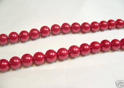 100 Pcs x Verre Perle 8 mm Perles rondes #71A rouge cerise