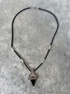 Handmade Onyx Sterling Silver Ethnic Tribal Beaded Necklace