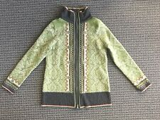 Eddie Bauer Size XL Green Fair Isle Nordic Merino Wool Zip Cardigan Sweater