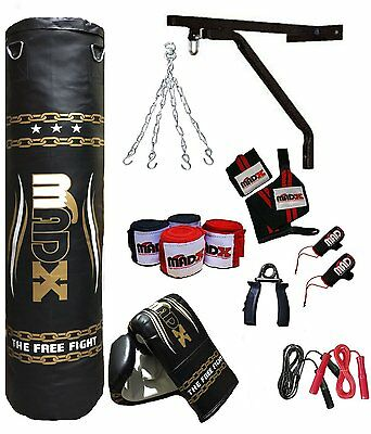 MADX 13 Piece Boxing Set 4ft Filled Heavy Punch Bag Gloves,Chain,Bracket,Kickbag