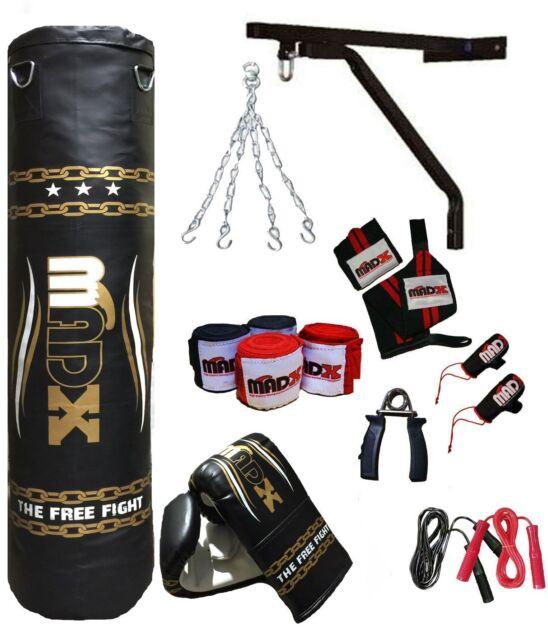 MADX 13 Piece Boxing Set 4ft Filled Heavy Punch Bag Gloves,Chain,Bracket,Kickbag