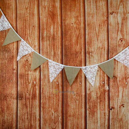 3m 12 Flag Lace Floral Cotton Pennant Bunting Banner Vintage Party Wedding Decor