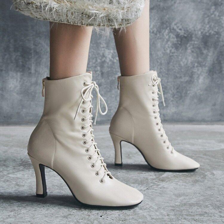 Women Round Toe Rivet Lace up Ankle Boots Punk Punk Punk Black Gothic Platform shoes sz acb8cb