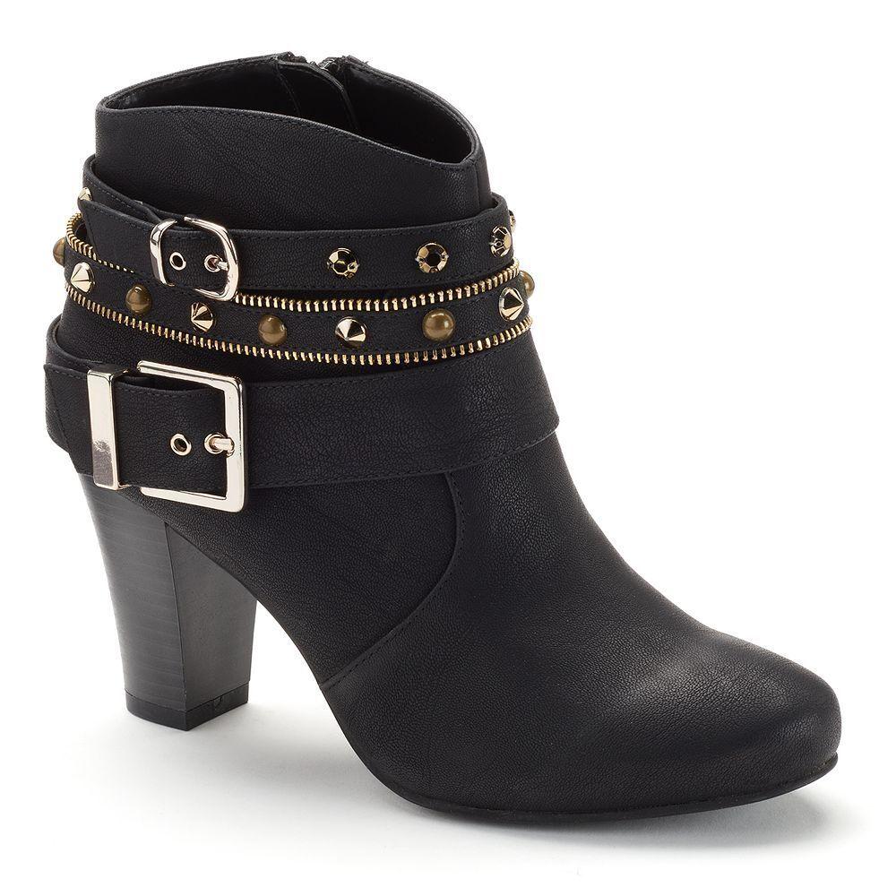 Women $90 Studded JENNIFER LOPEZ Studded $90 Dress High Heel Ankle Boot Booties BLACK sz 6 2972a5