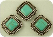 2 Hole Beads Faux Turquoise Square Cabochons w/ Rope & Beaded Edge Frames QTY 3