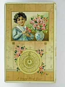 Postcard-Happy-New-Year-Clock-Tuck-039-s-Girl-with-Flowers-Posted-1910