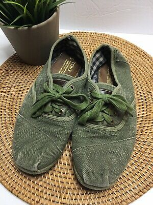 Toms Olive Green Lace Up Canvas Shoes